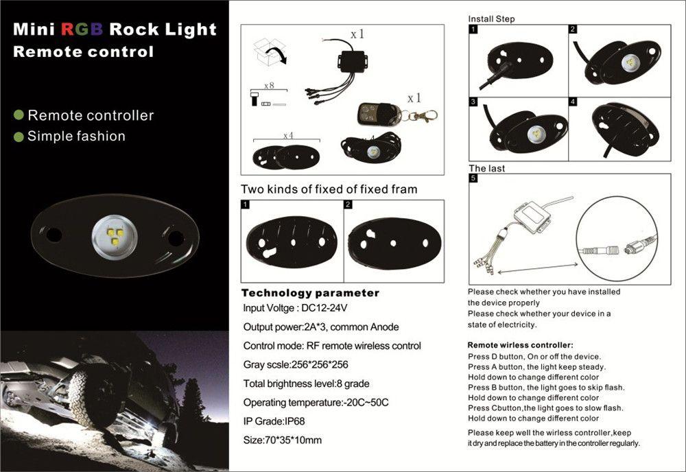 9W High Power 9-30V Mini Bluetooth 4 Pods CREE LED RGB Rock Light Kit For Under Vehicle Truck Car SUV DIY