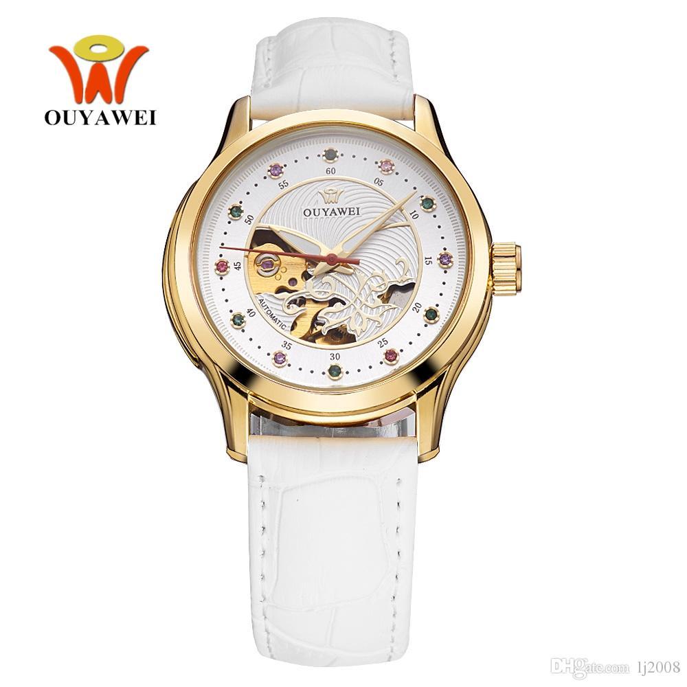 a0b9d8fb5c8 Compre Top Venda Oyw Feminino Relógio Mecânico Automático Relógio De  Pulseira De Couro Moda Mulher Relógio De Pulso Dress Watch Business Senhora Reloj  Mujer ...
