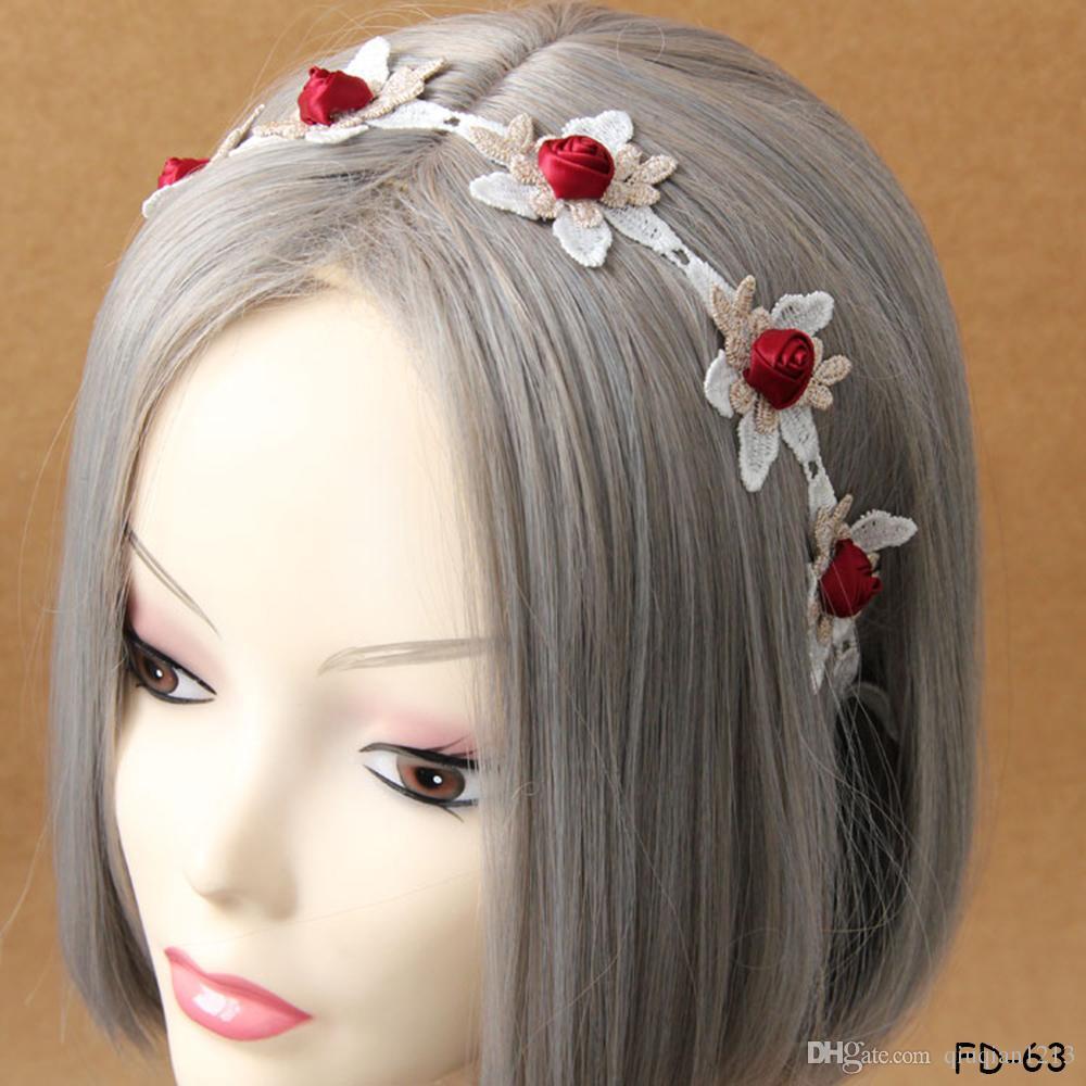 Bohemian Bride Lace Rose Daisy Flower Headband Garland Hairband