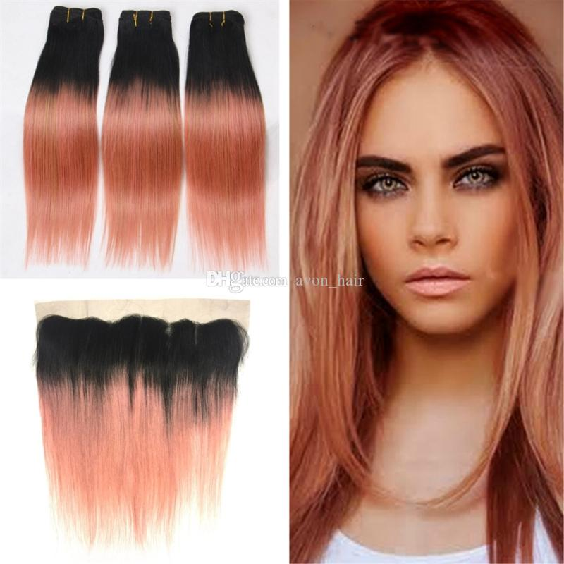 2019 Dark Root 1b Rose Gold Straight Hair 3 Bundles With Ear To Ear