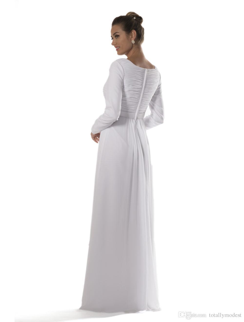 긴 소매와 함께 롱 롱 겸손한 신부 들러리 드레스 화이트 쉬폰 신부 사원 리셉션 리셉션 드레스 비공식 맞춤형 맞춤 제작