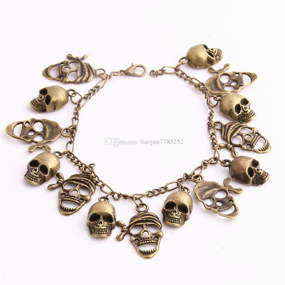 Metal Alloy Zinc Antique Bronze Bracelet Skull Pendant Charm Chain Handmade Diy Jewelry Making C0610