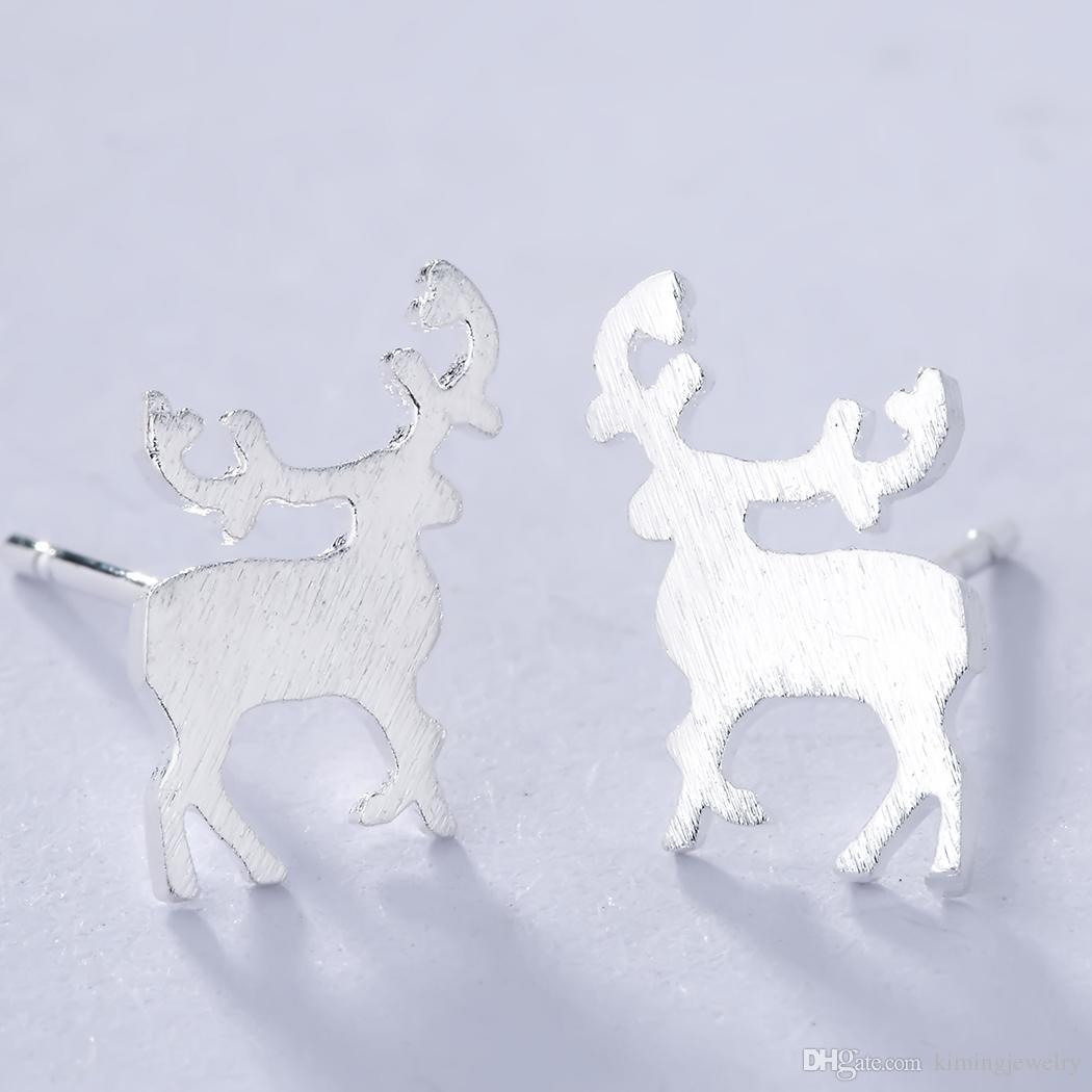 Bijoux 925 Sterling Silver Animal Jewelry Women Lovely Sika Deer Stud Earrings Party Dress Punk Statement Earrings