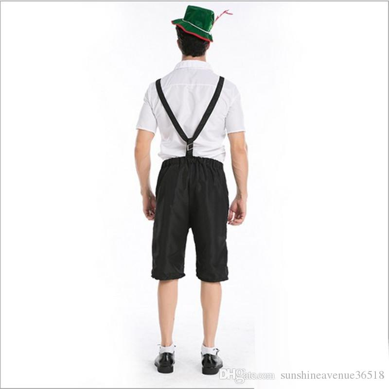 British Men's Suspenders Workers Uniform Cosplay Halloween Costumes Oktoberfest Farmer Game Performance Clothing Hot Sale