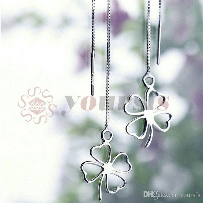 Yoursfs mode-sieraden 18K vergulde zilveren bloem oorlijn hanger oorbellen vrouw verjaardag cadeau