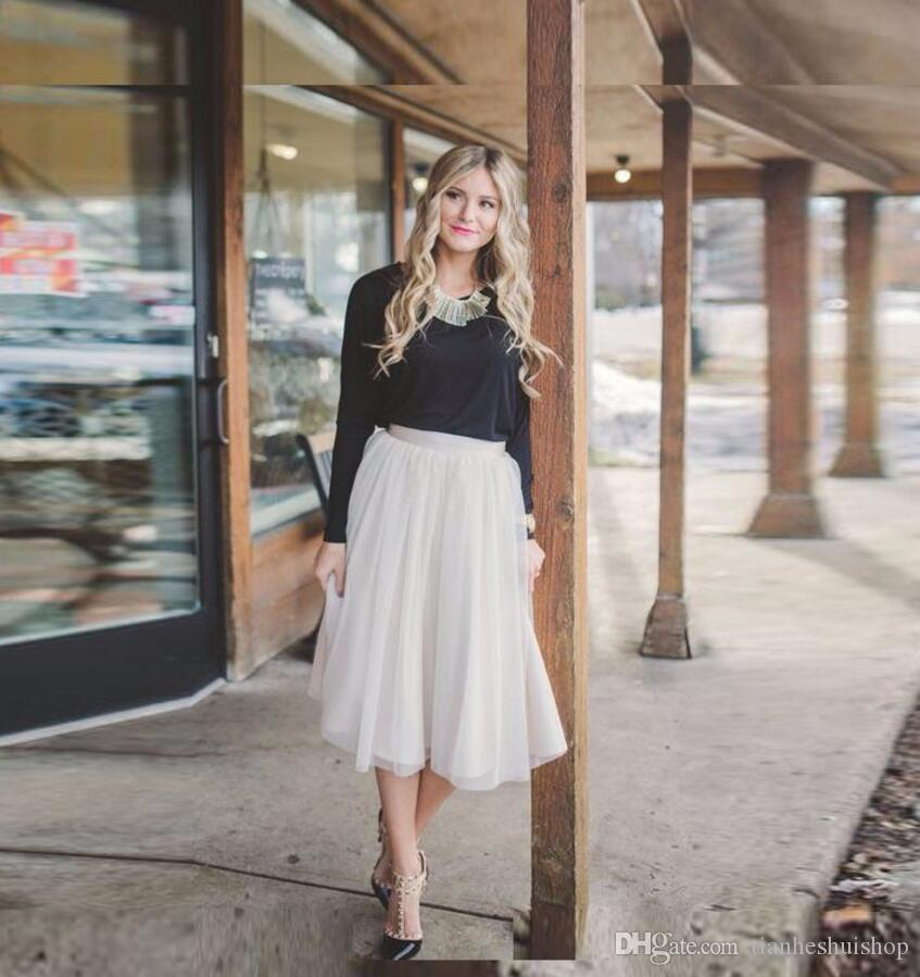 4eb6d6408 Compre Modest Ivory Tulle Falda De Moda Estilo Midi Skirt Faldas Clásicas  Simples Womens Custom Made Falda De Mujer Casual A  63.97 Del  Tianheshuishop ...