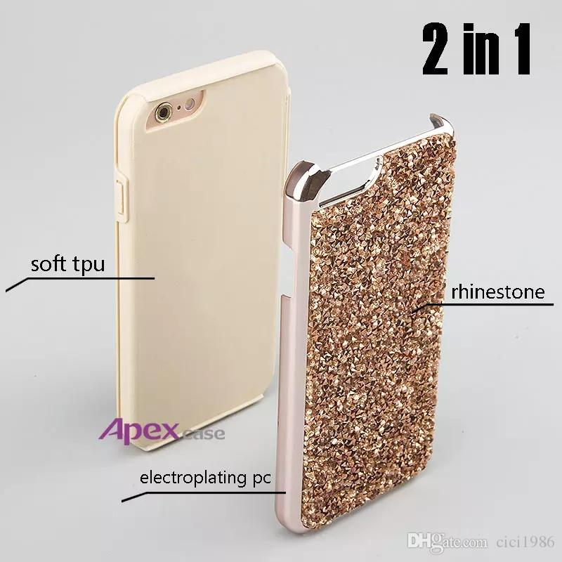 Premium bling 2 in 1 Luxury diamond rhinestone glitter back cover phone case For iphone 7 5 6 6s plus s8 s8plus cases