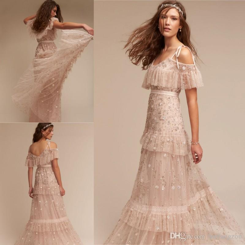 White Wedding Dress Under 500: Discount BHLDN Bohemian Beach Wedding Dresses Sequins