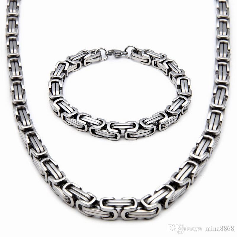 Collana in argento da 8mm in acciaio inossidabile con catena set di collana bizantina Collana in oro bianco / argento / oro 55CM