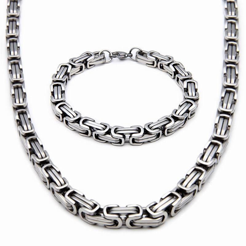 fc704ba111acc Conjunto de jóias de aço inoxidável de qualidade superior Prata   Cor de  ouro Pulseira Byzantine Pulseira de homens Conjunto de pulseira Bijoux  Atacado