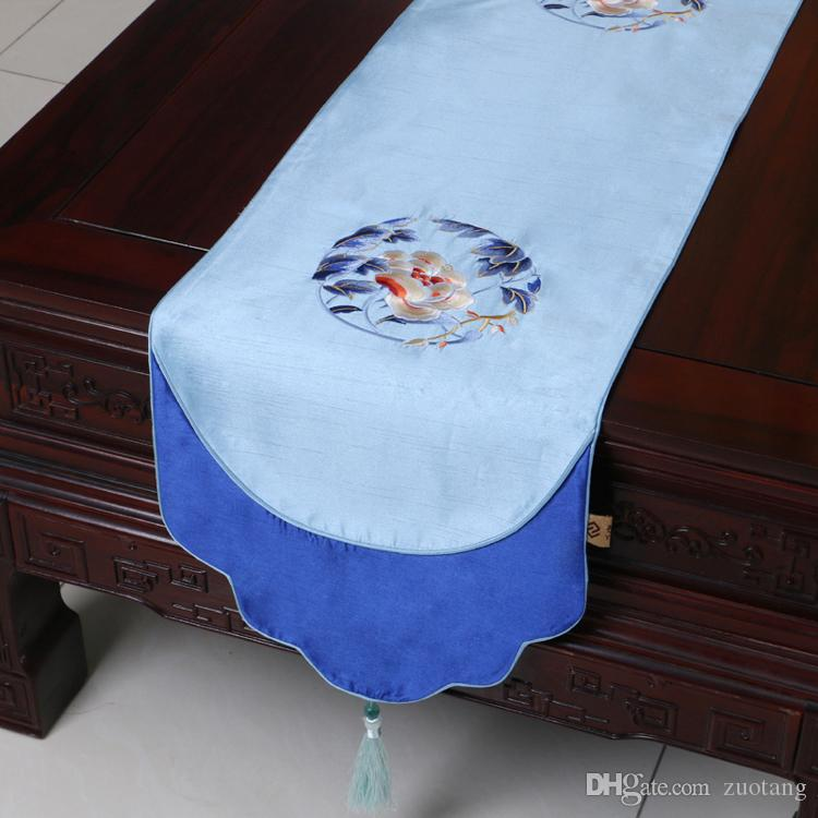 Extra Long 120inch Fine Embroidered Table Runner Chinese style Dining Table Mats Silk Brocade Coffee Table Cloth Placemat Home Decoration