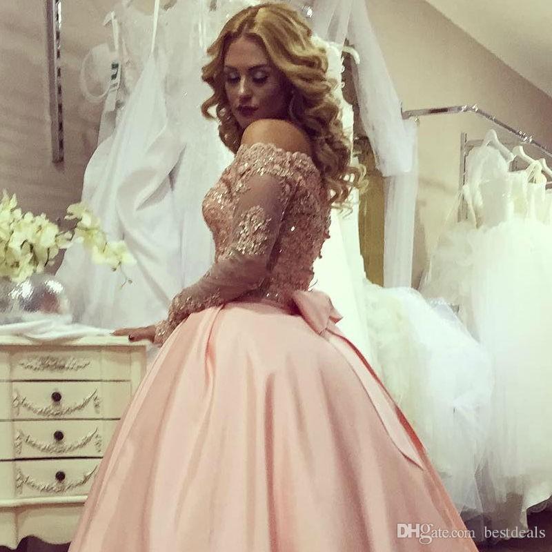 Rose robe de bal Robes de bal 2017 à encolure bateau manches longues en dentelle Sparkly Party Bow perlée appliques robe de bal Robes Vestidos