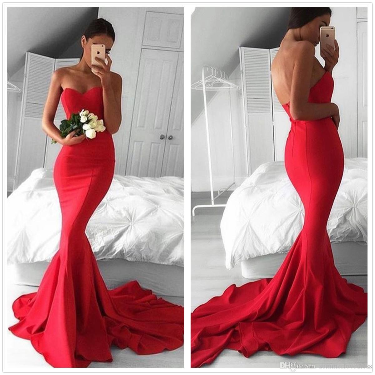 2017 New Red Strapless Satin Mermaid Long Prom Dresses Ruffle Sheath