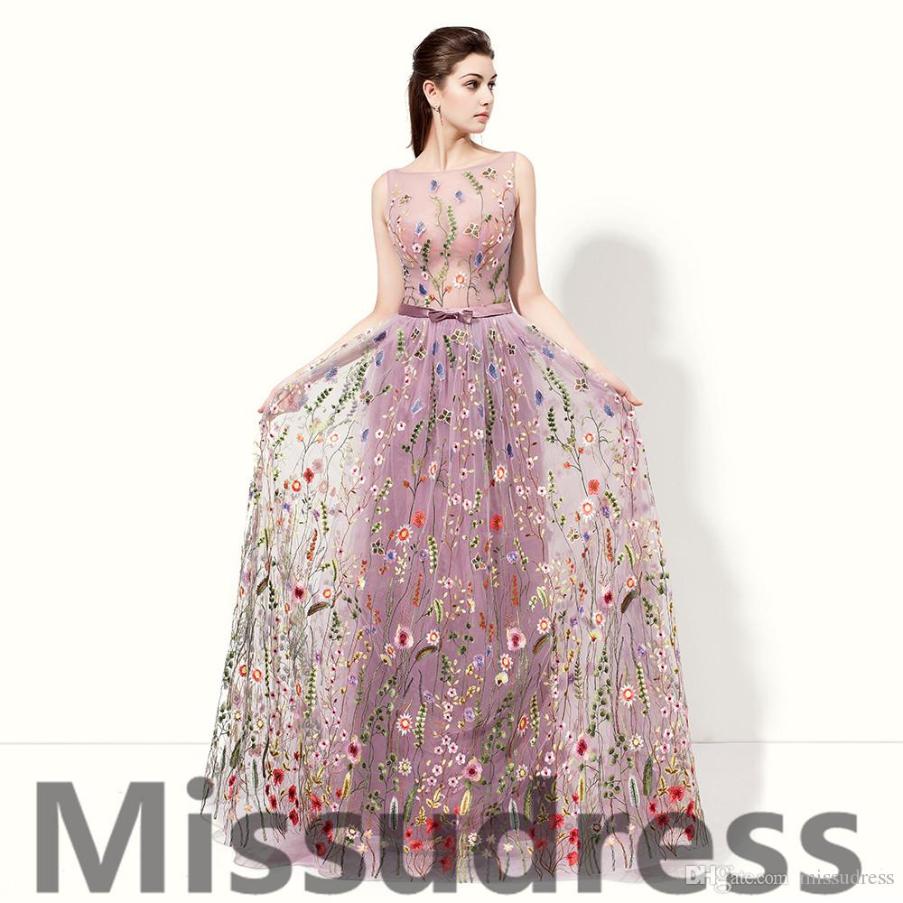 Real Model Photos 2017 Fashion Purple Lace Evening Gowns Sheer Bodice A Line Formal Evening Dresses For Women Sexy Special Prom dresses.