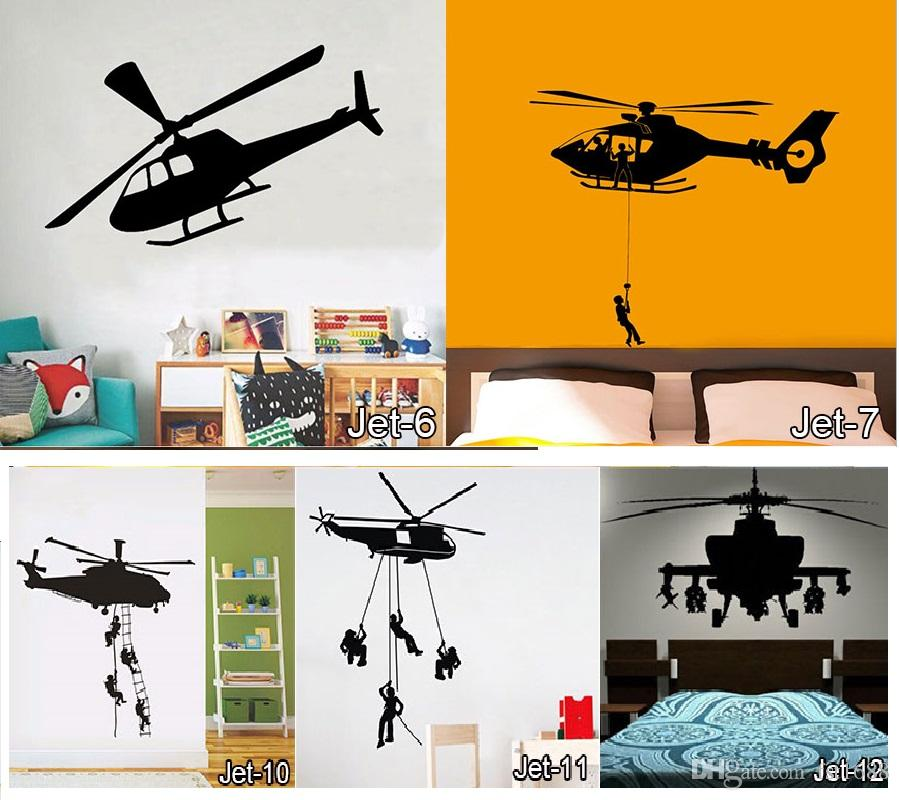 Vinyl Plane Wall Sticker Jet Art Wall Stickers Many Types of Airplane  DEcals Kids Rooms Helicopter Home Decor Free Shipping