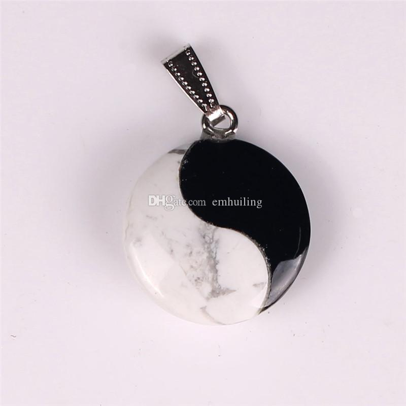 Natural Stone White Turquoise and Black Onyx Jade Tai Chi Yin Yang Fortune Charm Bead Pendants Cabochon Lucky Jewelry Making Birthday Gift