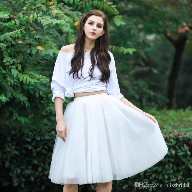 Knee Length White Tull Draped Layers Skirts Custom Made Skirts Fashion Solid Delicate Pleated Tutu Skirt 100% Real Picture