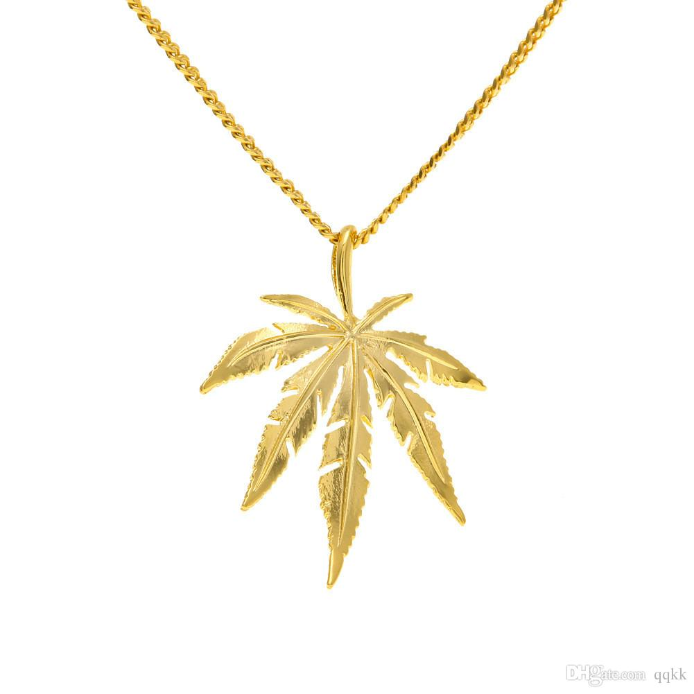 Wholesale gold plated maple l leaf pendant necklace men women hip wholesale gold plated maple l leaf pendant necklace men women hip hop charm herb 60cm cuban chains necklaces mens fashion hiphop jewelry birthday gift aloadofball Image collections