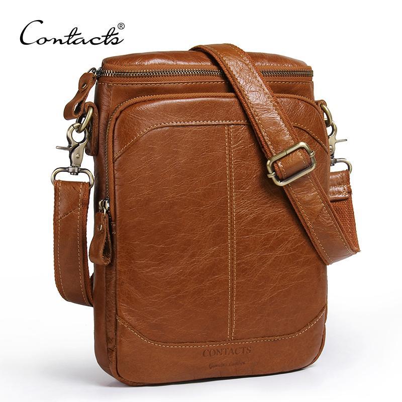 CONTACT S Genuine Leather Men Bags Business Male Messenger Bag Designer  Handbags High Quality Brand Crossbody Shoulder Bag Crossbody Bags Genuine  Leather ... 3698c272d05bb