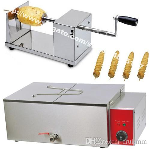 3 in 1 Tornado Potato/Twister Potato/Spiral Potato Cutter + Electric Deep Fryer + 35cm Bamboo Skewers