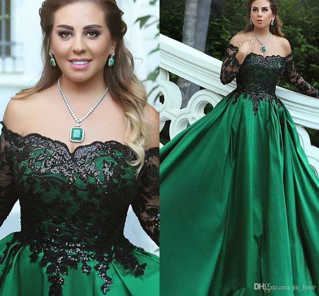 6462116abf4c 2017 Black And Green Prom Dresses Long Sleeve Off Shoulder Sparkly Sequined  Lace Satin Formal Party Dress Custom Size Junior Plus Size Prom Dresses  Prom ...