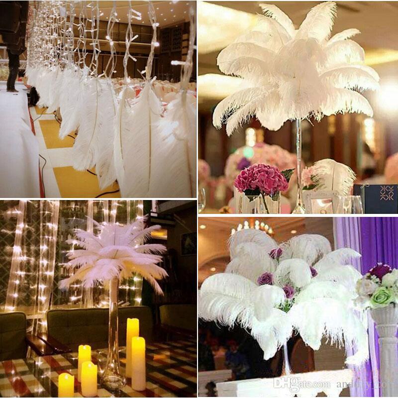 / 6-26 inç Devekuşu Tüy Beyaz Plume Düğün masa Centrepiece Masaüstü Dekorasyon Peluş Noel Dekor