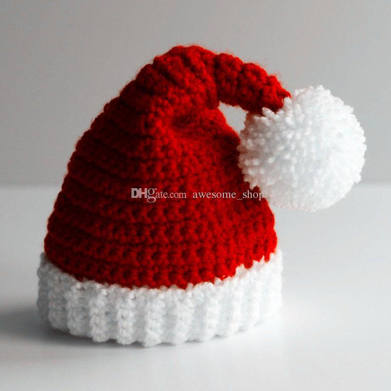 Novelty Santa Elf Hat,Handmade Knit Crochet Baby Boy Girl Christmas Pom Pom Hat,Kids Winter Cap,Infant Toddler Photo Prop