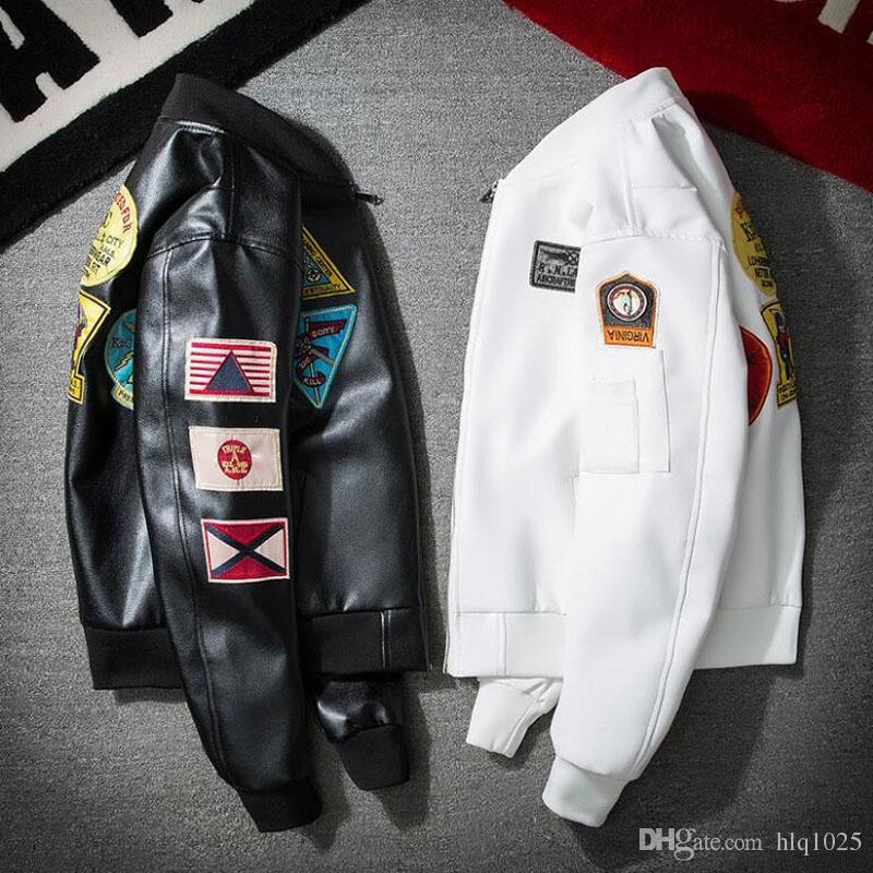 Moda Sonbahar Kış Gençlik Beyzbol Ceket Erkekler Koleji Ceketler erkek Giyim PU Deri Mont Bombacı Ceket