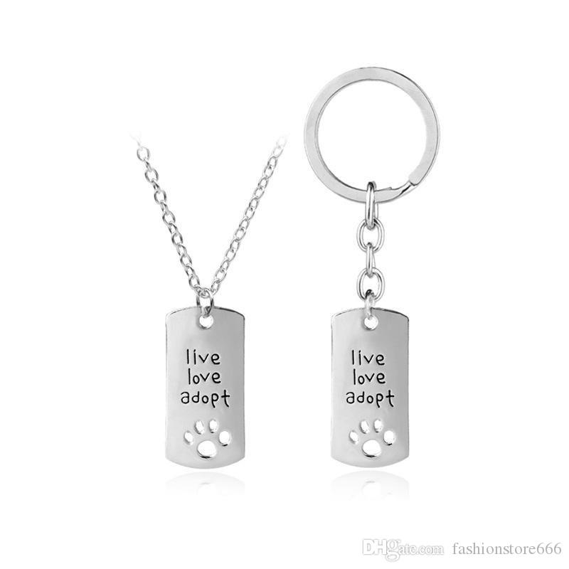 live love adopt footprints love heart-shaped necklace keychains loving faher's Day gift jewelry key ring