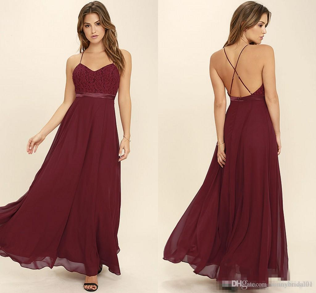 d171e35e52 Sexy Straps Spaghetti Burgundy Bridesmaid Dresses 2018 New Backless Lace  Top A Line Chiffon Beach Garden Wedding Party Guest Wear Patterns For  Bridesmaid ...