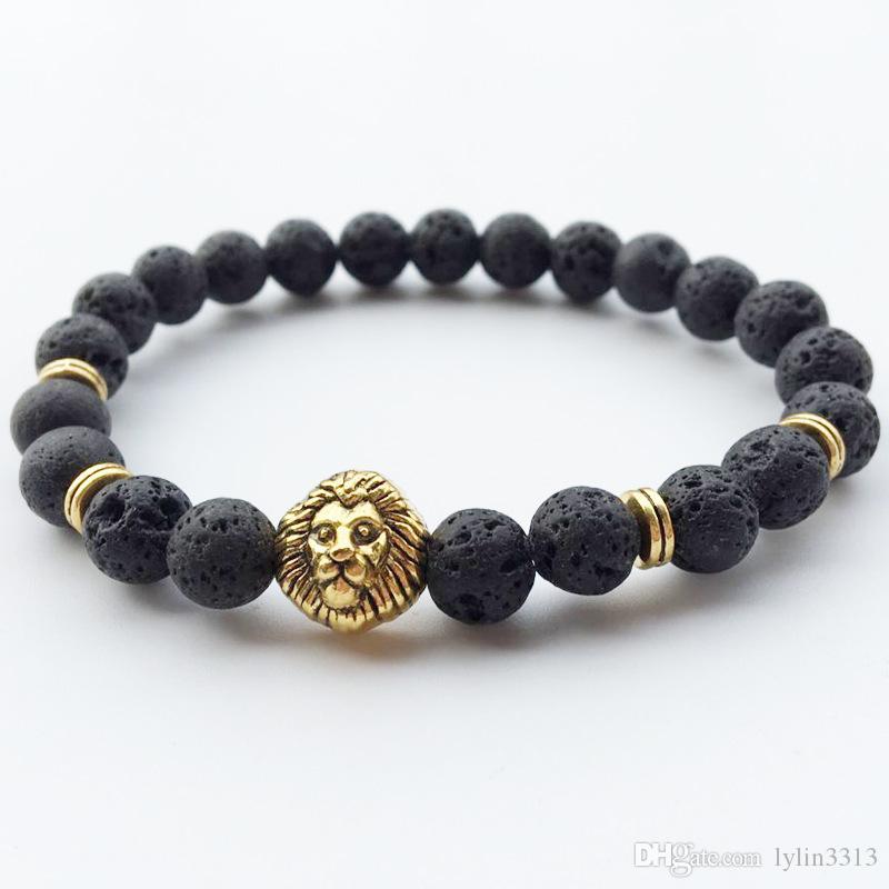 Bracelet Fashion 8mm Natural Lava Rock Beads Volcano Tiger Eye Laips Amethyst Stone with Seven Color stone Beaded Bracelet Unisex