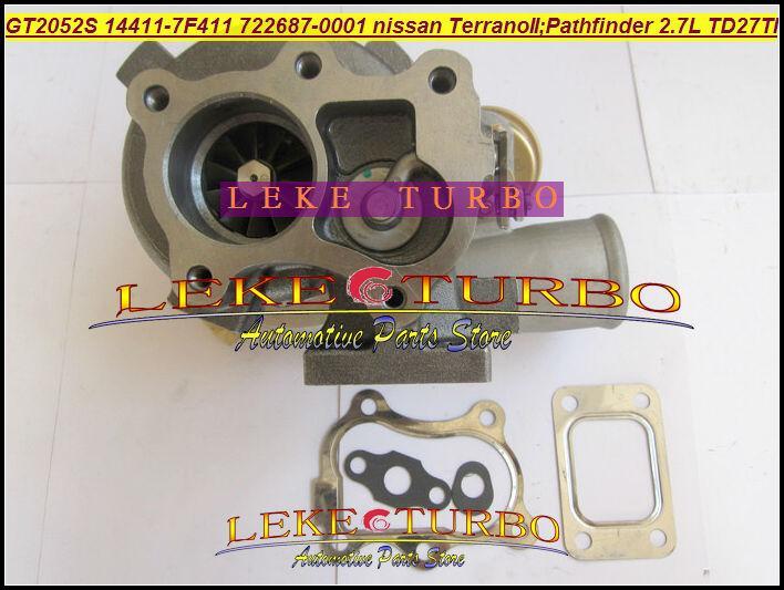 GT2052S 14411-7F411 722687-5001S 722687 turbo Nissan Terrano II 2001 Pathfinder 2.7L 01-05 TD27TI Turbocharger (1)
