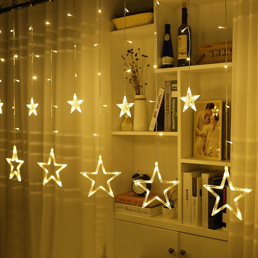 wholesale christmas lights romantic fairy star curtain string lighting ac110v 220v 138 led for holiday wedding garland party decoration patio light strings