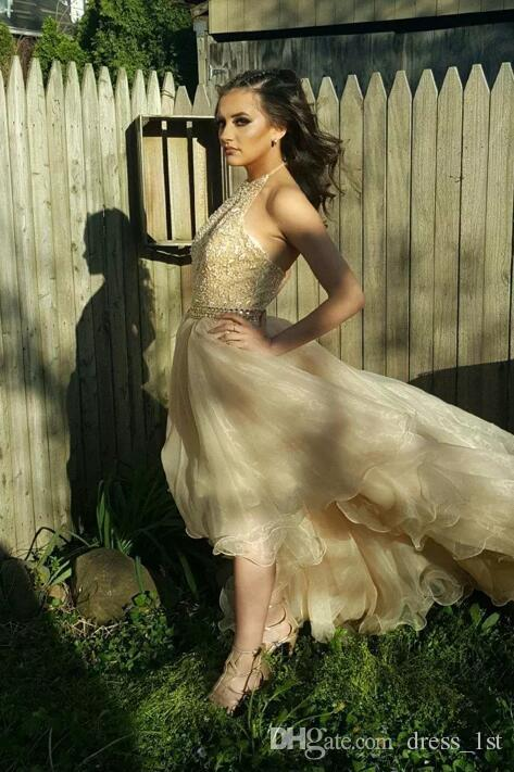 2017 Champagne Organza And Lace Hi Low Prom Dresses Long Cheap Halter Beaded Sash Tiered Formal Party Gowns Fast Shipping China EN91810