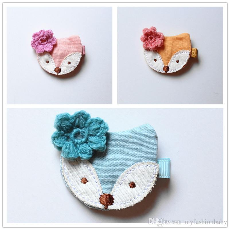 Bows Hair New Korean Style Princess Baby Girls Felt Hair Clips Bowknot Cartoon Design Fox with Wool Flower Hairpins