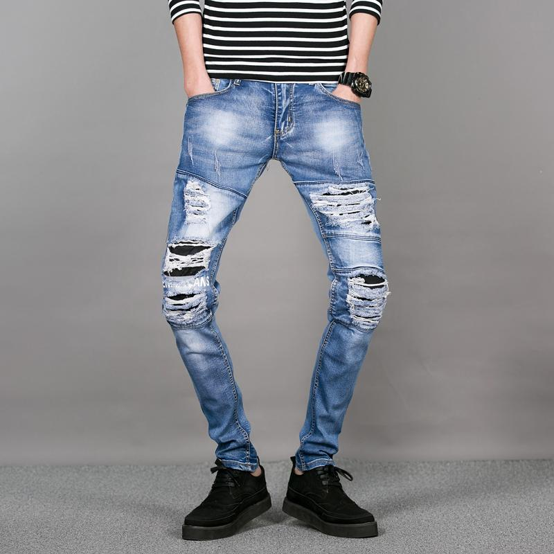 2018 Wholesale Menu0026#39;S Ripped Jeans Pants Knee Hole Patchwork Skinny Jeans For Men Fashion Boys ...