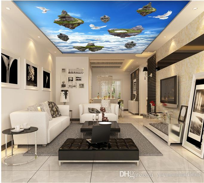 потолочные фрески обоев европейские подгоняют фото 3d потолок пустого острова голуби Нетканые обои для потолков
