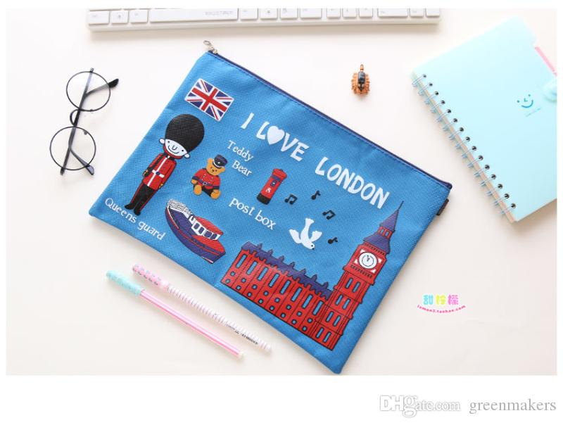 Kawaii cartoon paris printed New PVC zipper Document File Bag A4 File Folder Stationery Filing fashion paper document bag