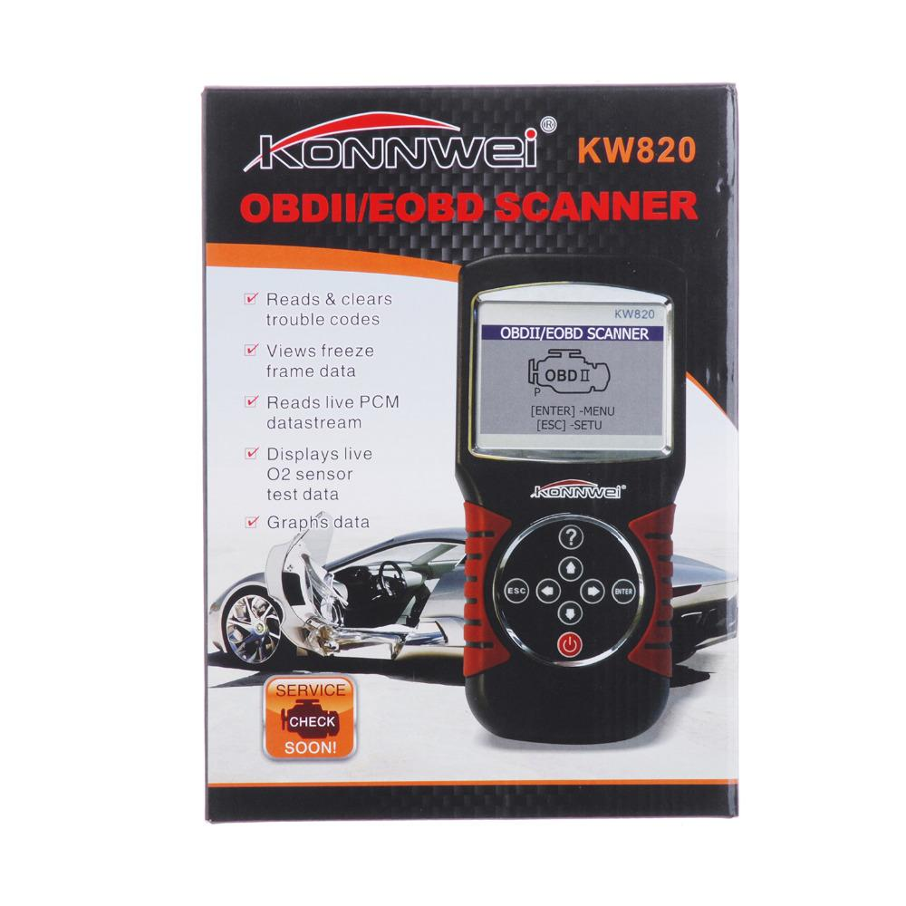 Diagnostic Tool KONNWEI KW820 Car Scanner EOBD OBD2 OBDII Live Code Reader with Multilingual Menu Large Backlit LCD Screen