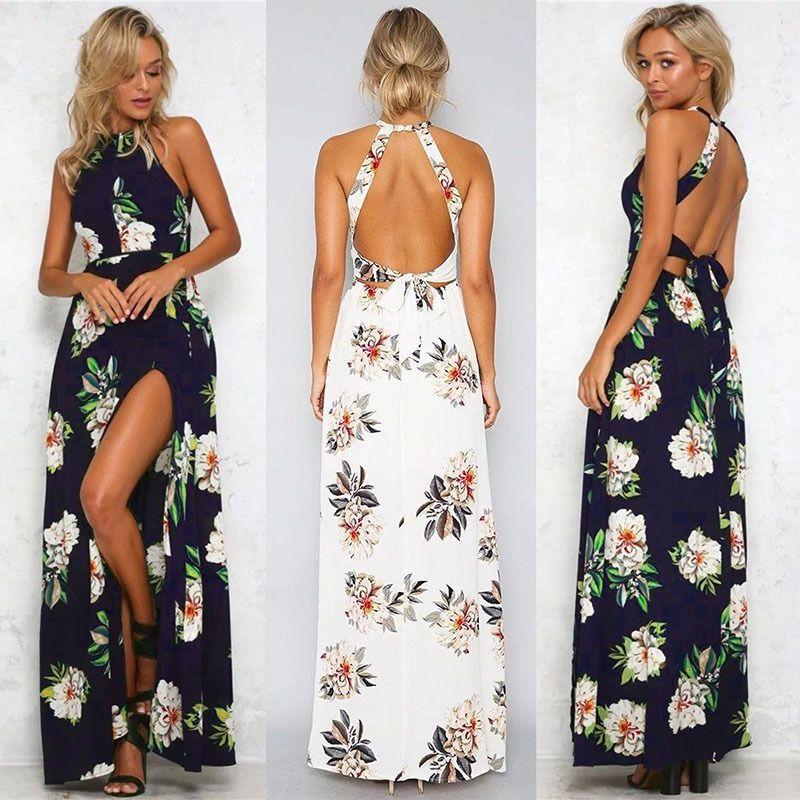 f9d295c1eb3a30 2017 Casual Dresses Women S Clothing UK Womens Holiday Sleeveless Ladies  Maxi Long Summer Print Beach Chiffon Dress One Shoulder Dress Party Dresses  Online ...