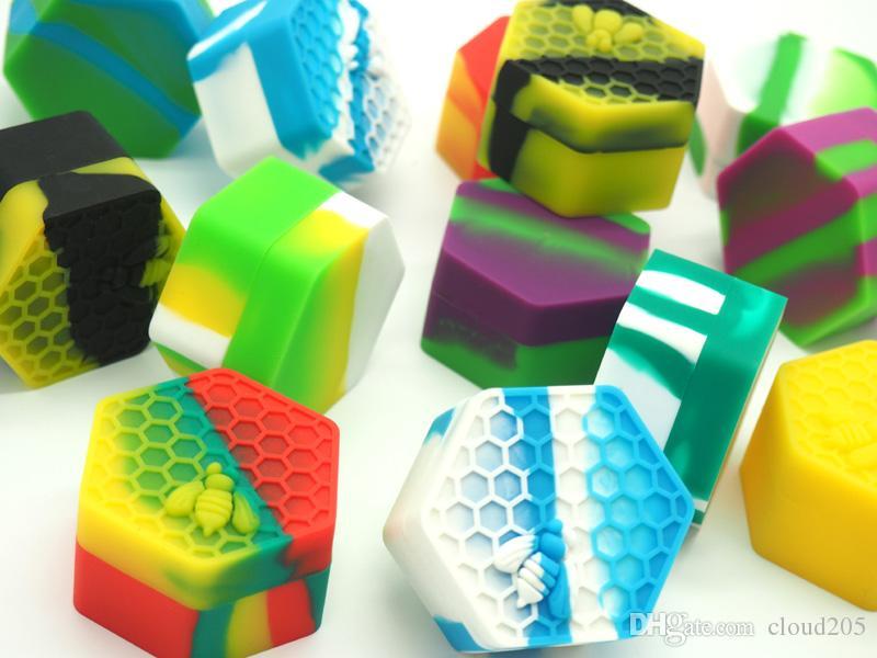Super Dieu! 5 morceaux d'abeille, récipient en silicone hexagonal, récipient en silicone, cire de miel, réservoir en silicone, huile DAB