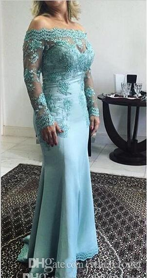 2019 Plus Size Mãe Do Laço Azul Da Noiva Vestidos de Manga Longa Do Noivo Do Casamento Do Noivo Chiffon Fora Do Ombro Vestidos Formal Vestidos de Festa À Noite
