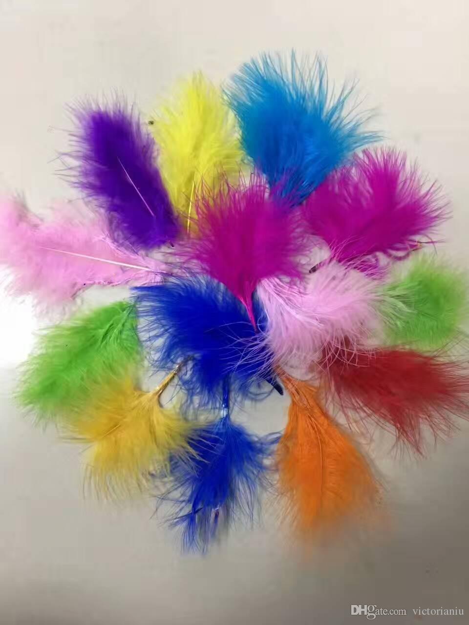 Atacado cores aleatórias 10-15cm penas de marabu ganso macio por balão transparente