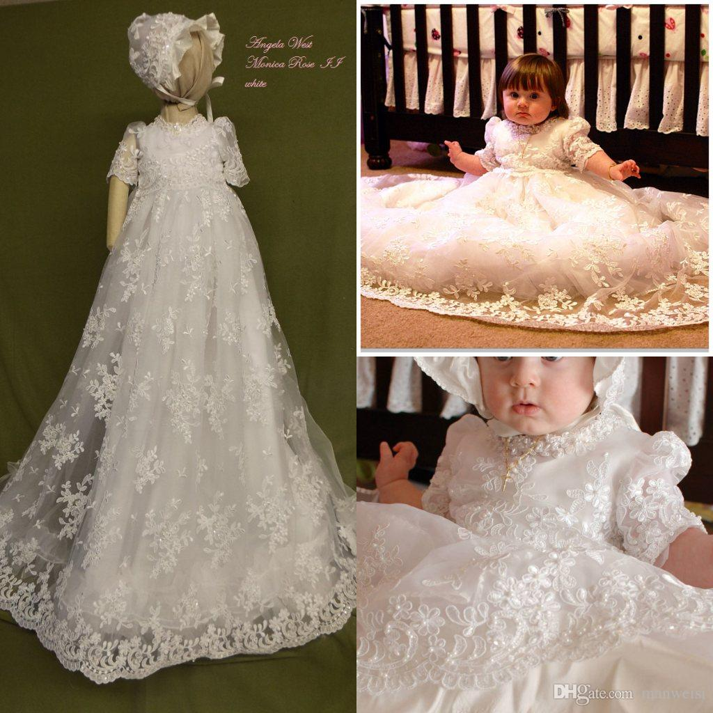 2019 Custom Made Baby Christening Gowns Lace Applique Half Sleeve Beads Baptism  Dresses Flower Girl Formal Communication Dress From Manweisi f338d2bd84bd