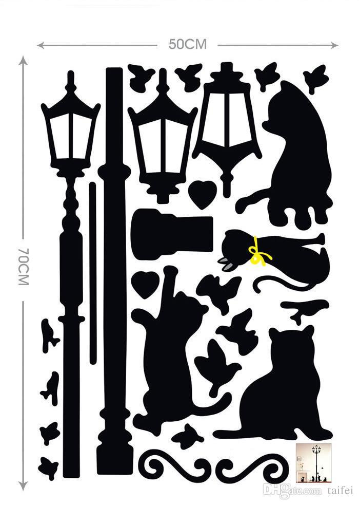2019 Promotion Decal Amovible Pvc Dessin Animé Estrella Noir pour Chatons Stickers Muraux Fonds D'écran Home Decor Art Mignon Ppaer Livraison Gratuite