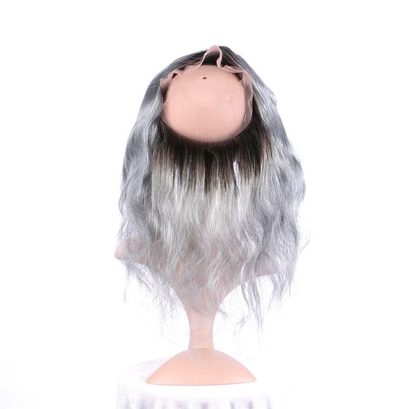 Ombre Pre desplumado 360 Frontal de encaje con paquetes de cabello Dark Root 1B Extensión de cabello gris trama de onda corporal con 360 Frontal de encaje