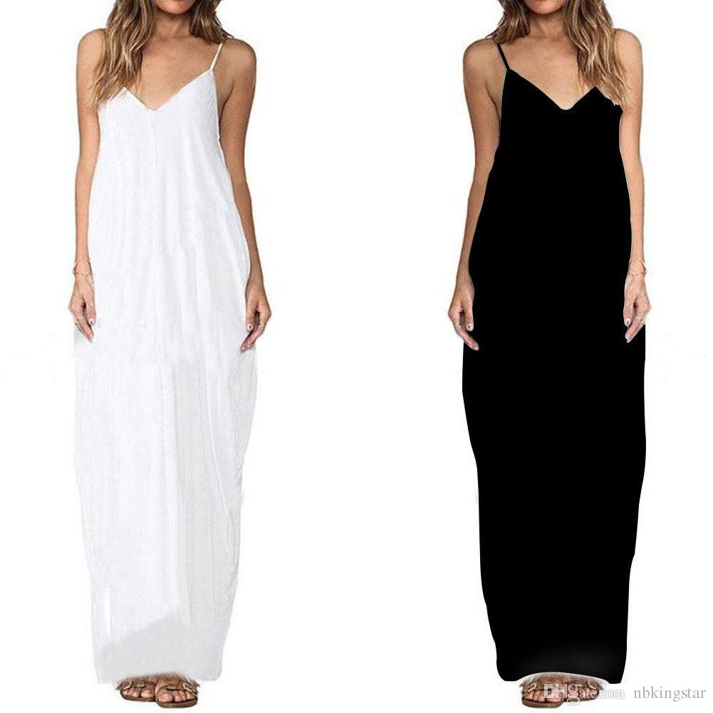 16b6aa4c4f38f 2017 Summer V Neck Spaghetti Strap Boho Women Oversize Maxi Dress Solid  Loose Beach Casual Chiffon Long Dresses White Dresses For Sale Lace Summer  Dress ...