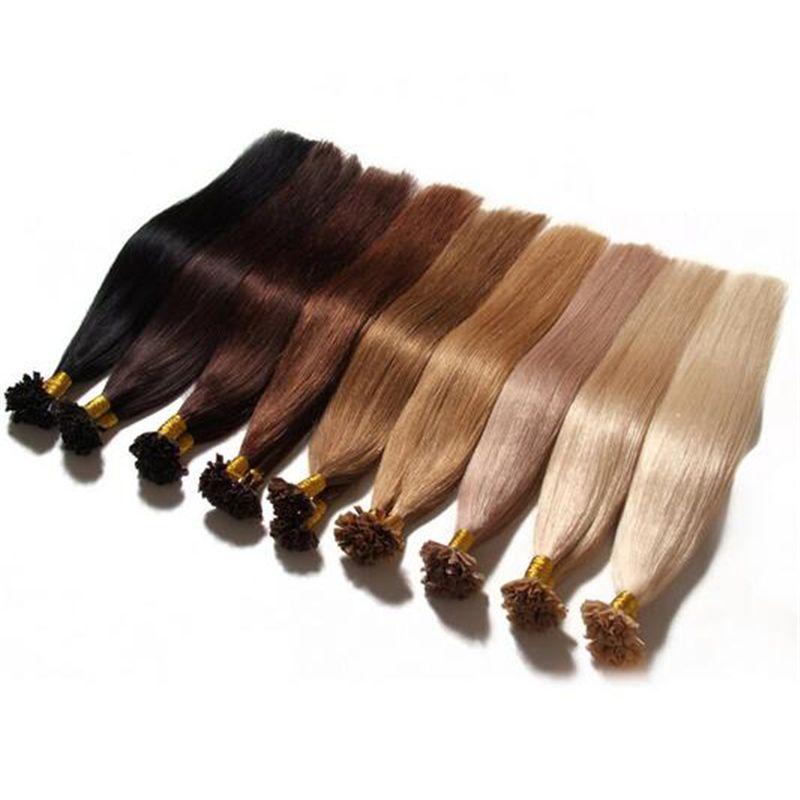 U / Extensiones de cabello con punta de uñas Pre consolidado Pegamento de queratina Extensiones de cabello Fusion Piezas de cabello humano colorido indio 16