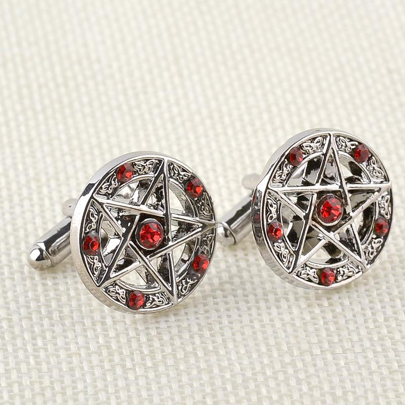 Supernatural Moive Jewelry Men Cuff Links Links Red Black Rhinestone Star Shirts Alloy French Cufflinks Wholesale