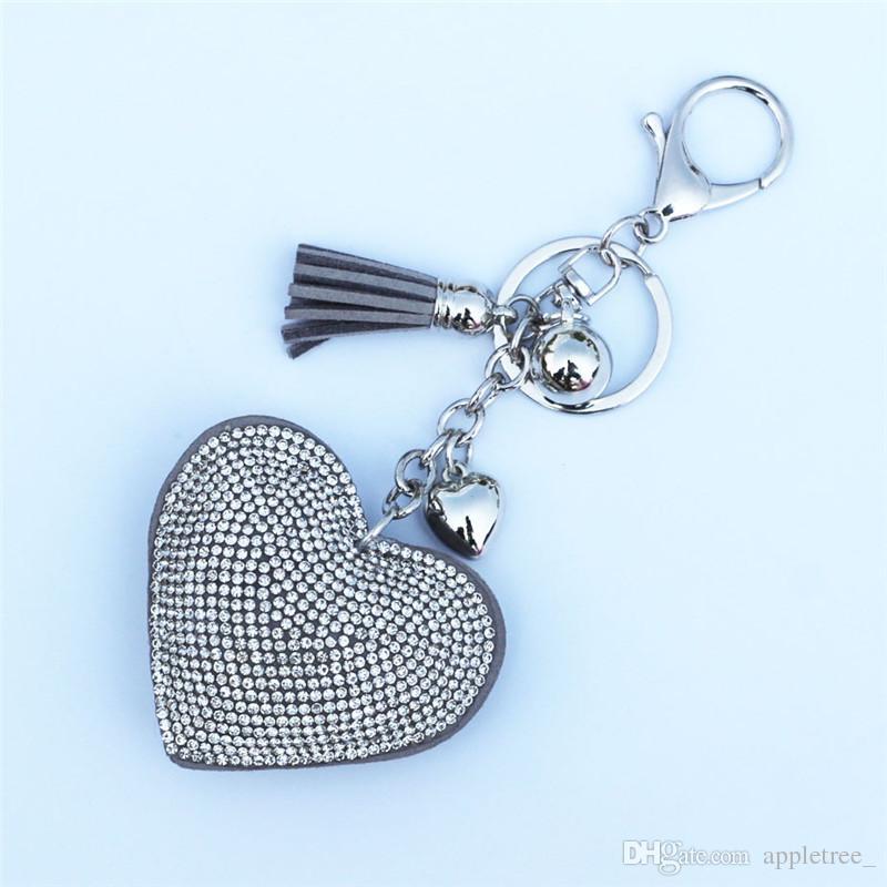 Herzdiamant Keychains Schlüsselketten arbeiten lederne Quasten keychain Schlüsselringe für Handtaschenrucksackliebhaberschlüsselringgroßverkauf DHL SF um heiß